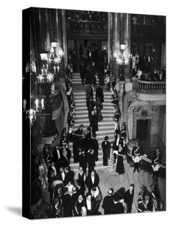 Concert-Goers Milling About on Grand Staircase of the Paris Opera House--Stretched Canvas Print