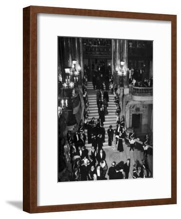 Concert-Goers Milling About on Grand Staircase of the Paris Opera House--Framed Photographic Print