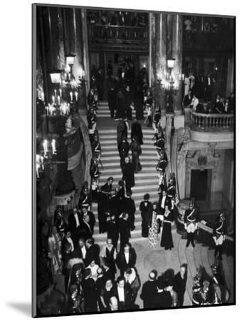 Concert-Goers Milling About on Grand Staircase of the Paris Opera House--Mounted Photographic Print