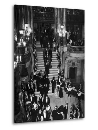 Concert-Goers Milling About on Grand Staircase of the Paris Opera House--Metal Print