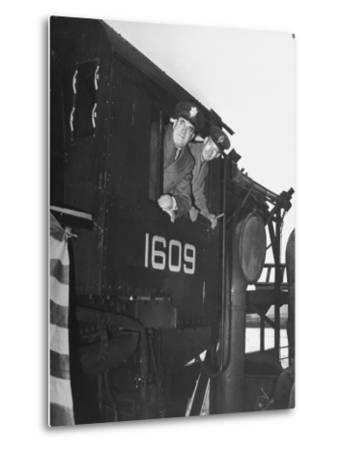 Col. Ryan and Major General Mcmullen Looking Out the Cab of a New Locomotive--Metal Print
