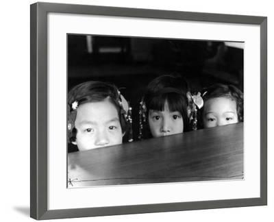 Little Girls Peeking over Rim of Table at California Chinese Mission School-Alfred Eisenstaedt-Framed Photographic Print