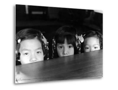 Little Girls Peeking over Rim of Table at California Chinese Mission School-Alfred Eisenstaedt-Metal Print