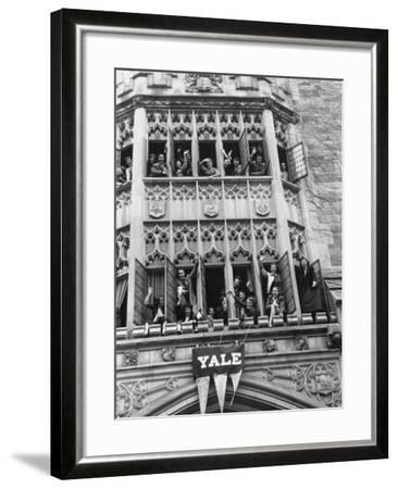 Vassar Girls Cheering Cyclists from Windows-Yale Joel-Framed Photographic Print