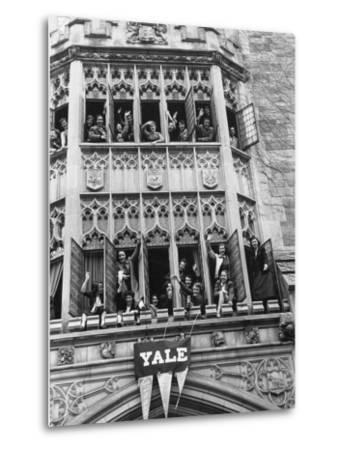 Vassar Girls Cheering Cyclists from Windows-Yale Joel-Metal Print