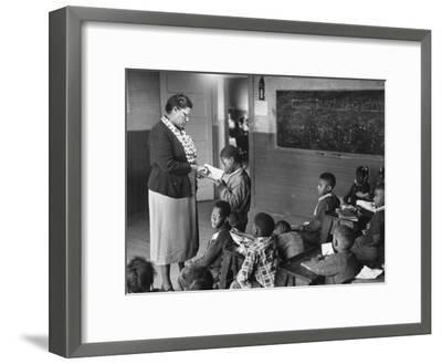 African-American Teacher and Children in Segregated School Classroom--Framed Photographic Print