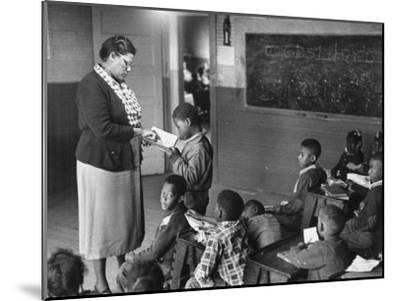 African-American Teacher and Children in Segregated School Classroom--Mounted Photographic Print
