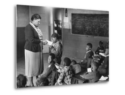 African-American Teacher and Children in Segregated School Classroom--Metal Print