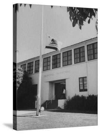 Flag of Republic of California Flying at Half Mast Following Plane Crash-Ralph Crane-Stretched Canvas Print