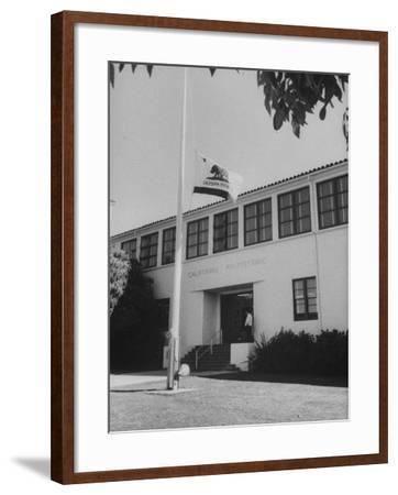 Flag of Republic of California Flying at Half Mast Following Plane Crash-Ralph Crane-Framed Photographic Print