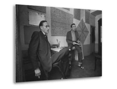 Painter Brion Gysin, Shown W His Paintings in Hotel Room in with Writer William S. Burroughs-Loomis Dean-Metal Print