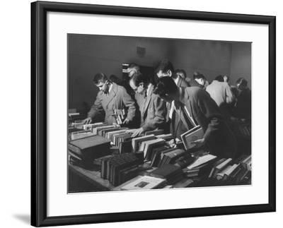 Students Buying Books at a Sale at Harvard University-Dmitri Kessel-Framed Photographic Print