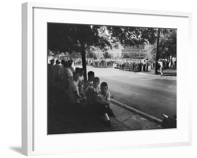 Scene in Front of Clinton High School on the First Day of Intergration--Framed Photographic Print