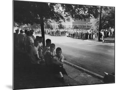 Scene in Front of Clinton High School on the First Day of Intergration--Mounted Photographic Print