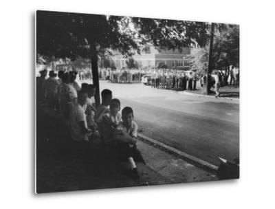 Scene in Front of Clinton High School on the First Day of Intergration--Metal Print