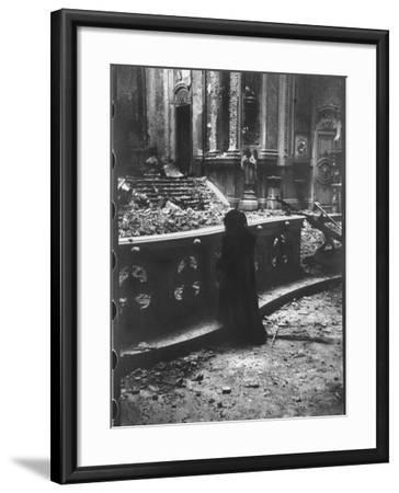 Woman Grieving over Wreckage of Catholic Church Burned During Uprising Against Peron--Framed Photographic Print