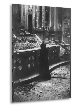Woman Grieving over Wreckage of Catholic Church Burned During Uprising Against Peron--Metal Print
