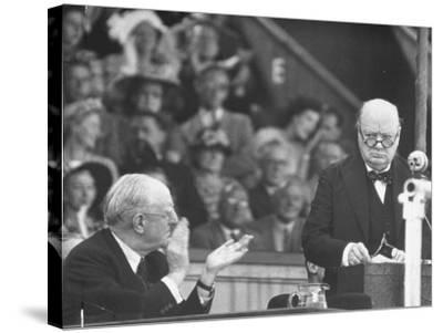 Winston Churchill Speaking at Wolverhampton Football Field--Stretched Canvas Print