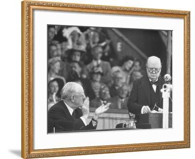 Winston Churchill Speaking at Wolverhampton Football Field--Framed Photographic Print