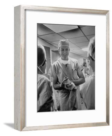 Dr. Denton A. Cooley, Chief Heart Surgeon at the St. Luke's Episcopal Hospital-Ralph Morse-Framed Photographic Print