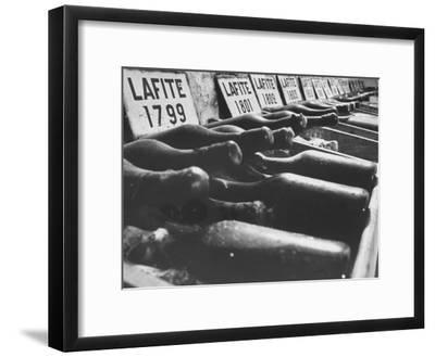 Bottles of Lafite Wines, Now Museum Pieces in French Wine Cellar-Carlo Bavagnoli-Framed Photographic Print