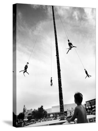 Flying Pole Dance or Voladores, Being Peformed by Aztec-Maya Ballet Co. at Dunes Hotels-Allan Grant-Stretched Canvas Print