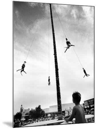 Flying Pole Dance or Voladores, Being Peformed by Aztec-Maya Ballet Co. at Dunes Hotels-Allan Grant-Mounted Photographic Print