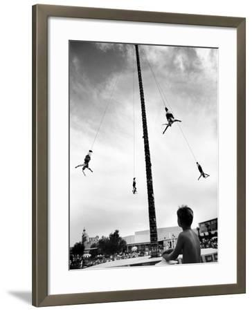 Flying Pole Dance or Voladores, Being Peformed by Aztec-Maya Ballet Co. at Dunes Hotels-Allan Grant-Framed Photographic Print