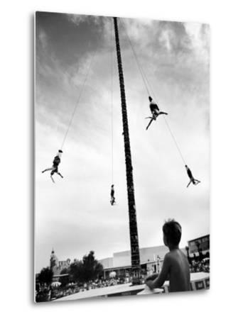 Flying Pole Dance or Voladores, Being Peformed by Aztec-Maya Ballet Co. at Dunes Hotels-Allan Grant-Metal Print