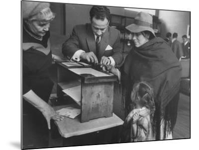 Woman Who Is Voting for the First Time--Mounted Photographic Print