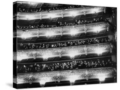 Audience Applauding Ballet Performed in the Bolshoi Theater--Stretched Canvas Print