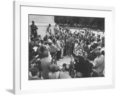 Naacp Lawyer Thurgood Marshall Speaking to the Press-Ed Clark-Framed Photographic Print