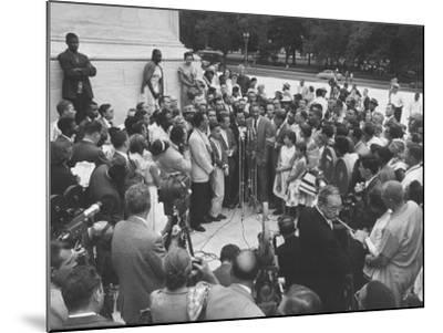 Naacp Lawyer Thurgood Marshall Speaking to the Press-Ed Clark-Mounted Photographic Print