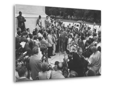Naacp Lawyer Thurgood Marshall Speaking to the Press-Ed Clark-Metal Print