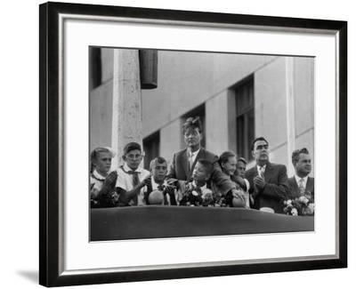 Soviet Presidium Leonid I. Brezhnev W. Mikhal Suslov at Opening of Kuibyshev Dam--Framed Photographic Print