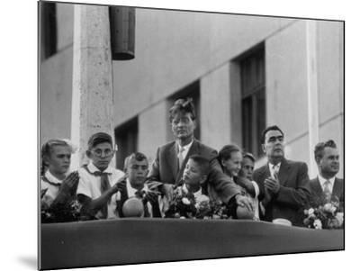 Soviet Presidium Leonid I. Brezhnev W. Mikhal Suslov at Opening of Kuibyshev Dam--Mounted Photographic Print