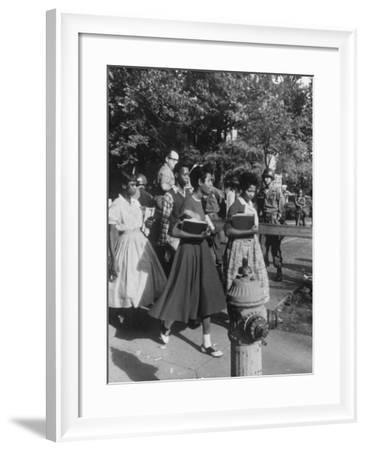 Federal Troops Escorting African American Students to School During Integration-Ed Clark-Framed Photographic Print