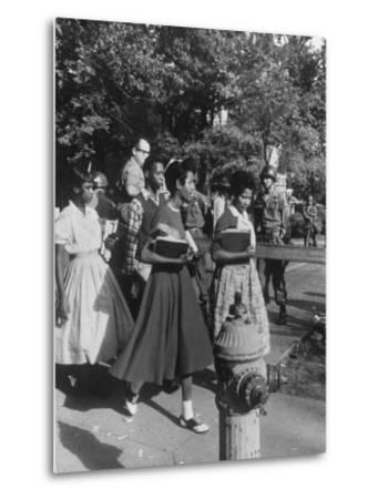 Federal Troops Escorting African American Students to School During Integration-Ed Clark-Metal Print