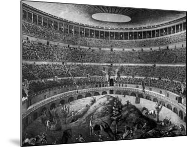 Gladiators Fighting Against Various Animals in Colosseum--Mounted Photographic Print