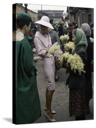 Dior Models in Soviet Union for Officially Sanctioned Fashion Show Visiting Flower Market--Stretched Canvas Print
