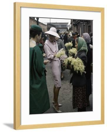Dior Models in Soviet Union for Officially Sanctioned Fashion Show Visiting Flower Market--Framed Photographic Print