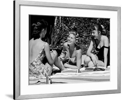 Teenager Suzie Slattery and Freinds Enjoying a Pool Party-Yale Joel-Framed Photographic Print