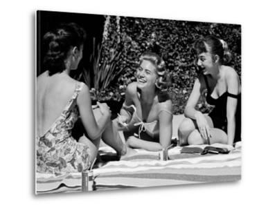 Teenager Suzie Slattery and Freinds Enjoying a Pool Party-Yale Joel-Metal Print