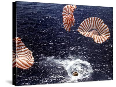 Apollo 15 Splashing Down in Pacific Ocean W. Parachutes Trailing Behind--Stretched Canvas Print