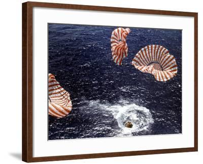 Apollo 15 Splashing Down in Pacific Ocean W. Parachutes Trailing Behind--Framed Photographic Print