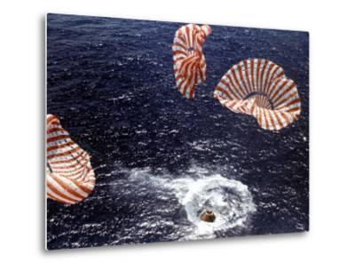 Apollo 15 Splashing Down in Pacific Ocean W. Parachutes Trailing Behind--Metal Print