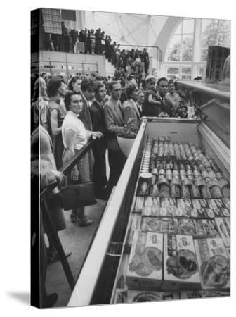 Crowds Checking Out Frozen Foods at the Us Exhibit, During the Poznan Fair-Lisa Larsen-Stretched Canvas Print