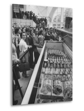Crowds Checking Out Frozen Foods at the Us Exhibit, During the Poznan Fair-Lisa Larsen-Metal Print
