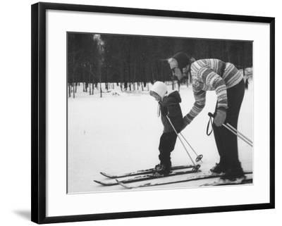 Woman Teaching Her Child to Ski, During the Ski Boom in Stowe--Framed Photographic Print