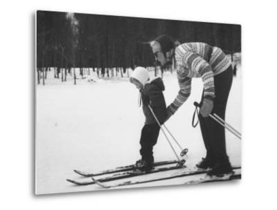 Woman Teaching Her Child to Ski, During the Ski Boom in Stowe--Metal Print